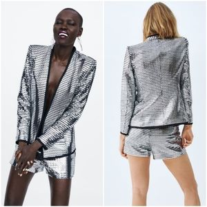 Zara 2 piece shiny shimmery blazer and bermuda set
